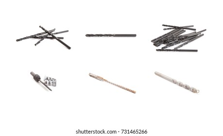 A collection of various drills isolated on a white background