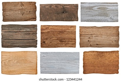 collection of various  empty wooden sign on white background. each one is shot separately