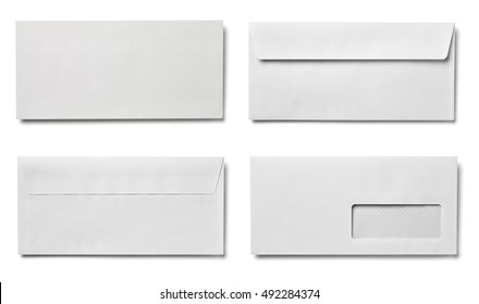collection of various envelopes and letters on white background. each one is shot separately