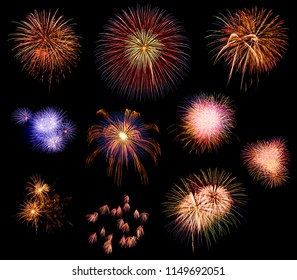 A collection of various explosive fireworks.