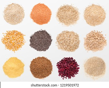 Collection of various grains and cereals, isolated on white background, top view