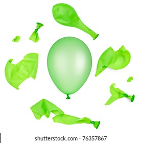 collection of various green balloons on white background. each one is shot separately