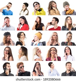 Collection of various happy people in different style clothes talking on the phone close up portraits isolated on white background.