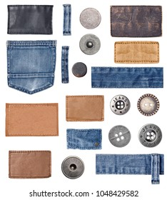 collection of various jeans parts and buttons