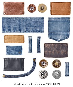 collection of various jeans parts and buttons on white background. each one is shot separately