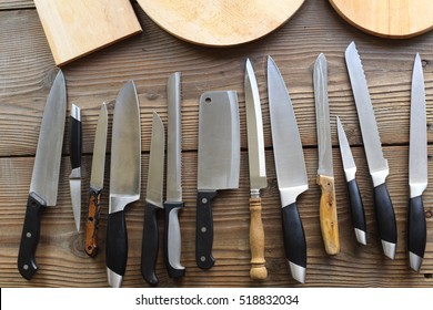 collection of various kitchen knives