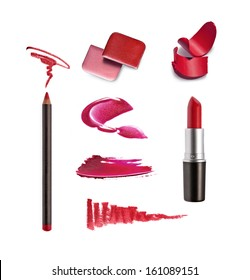 Collection of various lipstick on white background