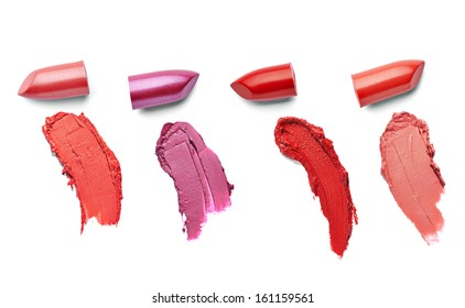 collection of  various lipsticks  on white background. each one is shot separately