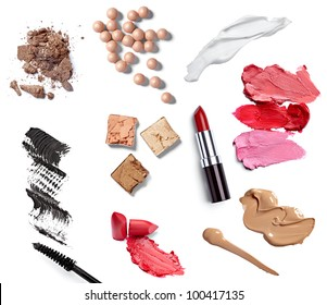 collection of  various make up accessories on white background. each one is shot separately