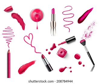 collection of various make up on white background. each one is shot separately
