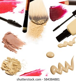 Collection of various make up on white background. each one is shot separately.