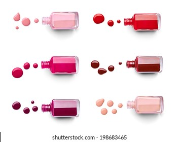collection of various nail polish bottle and drop on white background. each one is shot separately