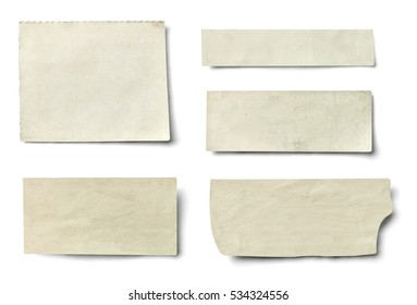 collection of various newspaper pieces on white background. each one is shot separately