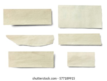 collection of various newspaper pieces on white background
