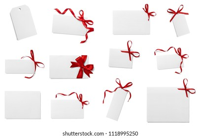collection of various note card with ribbon bow on white background. each one is shot separately