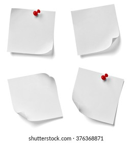 collection of various note paper with a red push pin on white background. each one is shot separately