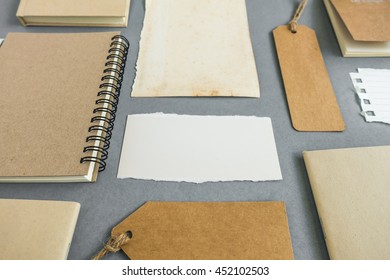 Collection of various paper, cardboard, tag, card and book with soft shadows.