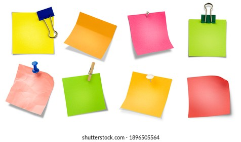 a collection of various paper notes. isolated white background