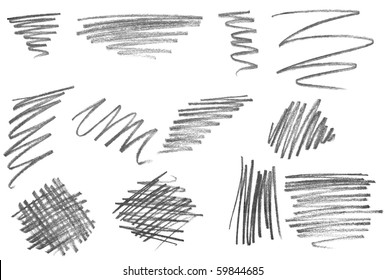 collection of  various pencil strokes on white background
