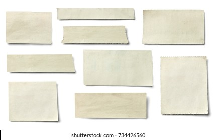 collection of various pieces of news paper on white background. each one is shot separately