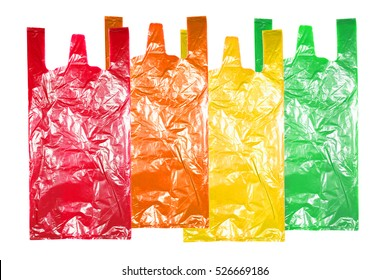 collection of various plastic bags isolated on white background.