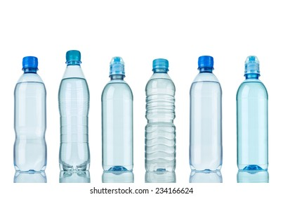 collection of  various plastic bottles on white background. each one is shot separately