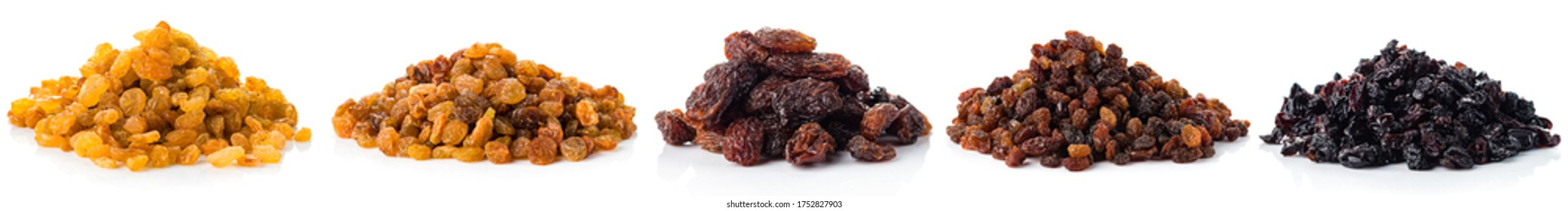 Collection of various raisins isolated, different varieties of raisins set on white background