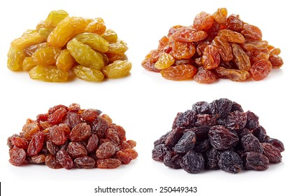 Collection of various raisins isolated on white background