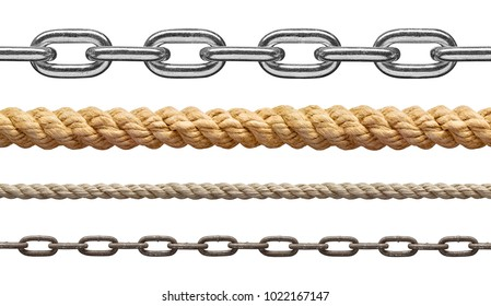 collection of  various rope and chain on white background. each one is shot separately