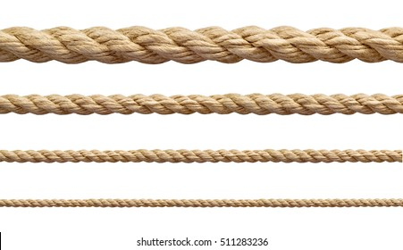 collection of  various ropes string on white background. each one is shot separately