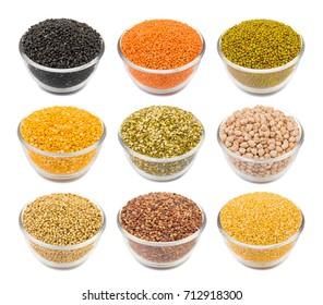 Collection of Various Seeds in Black Gram, Red Lentils, Masoor Dal, Green Mung Beans, Split Chickpea, Toor Dal, Raw Split Mung Bean Lentils, Chick Pea, Kabuli Chana, Dried Coriander, Yellow Split