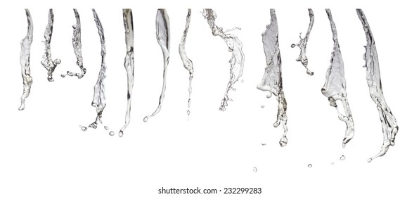Collection of various silver gray water jets and splashes isolated on white background