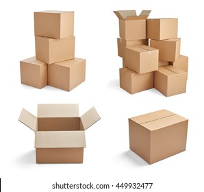 collection of  various stacks of cardboard boxes on white background