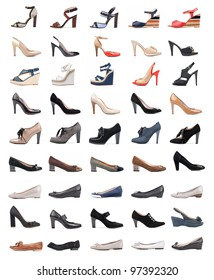 Collection of various types of female shoes over white