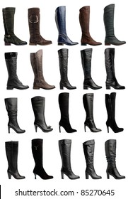 Collection of various types of knee high boots over white