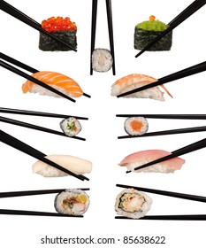 Collection of various types of sushi isolated on white