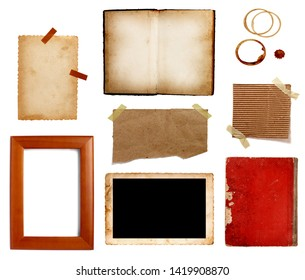 collection of various vintage note paper, tape, price label, wood sign on  white background