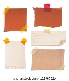 collection of various vintage note papers on white background
