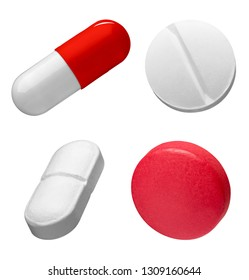 collection of various white and red pills on white background