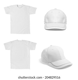 Collection Of Various White T Shirt And Baseball Cap Template On Background Each One