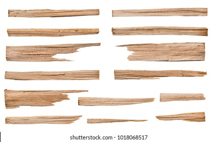 Collection of various wood for kindling on white background. Each one is shot separately, including Clipping Path