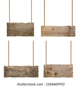 collection of various wooden blank sign hanging with chain and rope on white background
