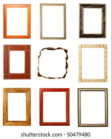 collection of various wooden frames on white background. each one is in full cameras resolution