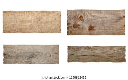 collection of various wooden sign board on white background