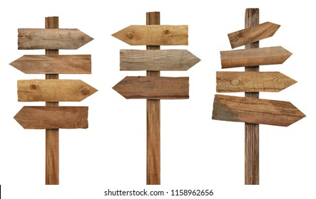 collection of various wooden signpost on white background