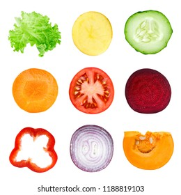 Collection of vegetable slices. Fresh food