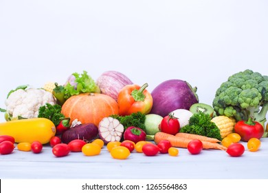 Collection vegetables and fruits on a white background.
