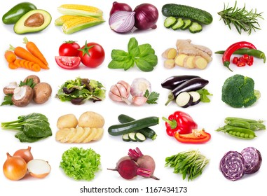 collection of vegetables and herbs isolated on white background