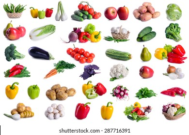collection of lot vegetables isolated on white background. large depth of field of the frame
