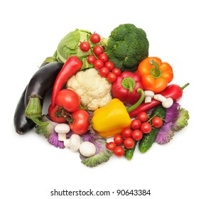 collection vegetables isolated on a white background